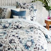 Organic Stained Glass Floral Duvet Cover + Shams