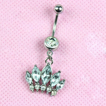 New Charming Dangle Crystal Navel Belly Ring Bling Barbell Button Ring Piercing Body Jewelry = 4804910020
