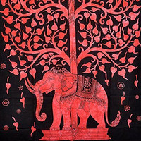 Elephant Tree Tapestry ,Good Luck White Elephant Tapestry , Hippie Gypsy Wall Hanging , Tree of Life Tapestry , New Age Dorm Tapestry (Red)