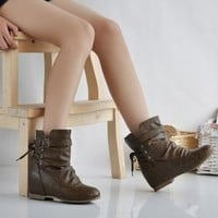 Wholesale Plus Size Lace-up Buckle Short Boots Army Green