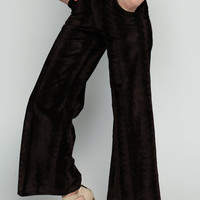 Velvet Bell Bottoms Pants LEVIS 70s Pants Boho High Waisted Trouser Palazzo Brown Hippie Wide Leg Hipster 1970s Bohemian Vintage Small Xs