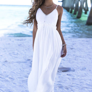 In A Sunshine State Of Mind Ivory Crochet Maxi Dress
