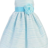 Light Blue Striped Organza Overlay Dress w Satin Sash 3M-10