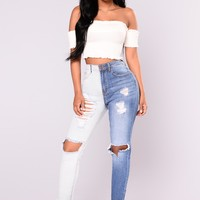 Split Personality Two Tone Jeans - Light/Medium