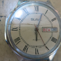 Soviet watch Slava/Glory with calendar – vintage wrist watch men – brown leather watch man – ussr watch mens – gift for him made in USSR 70s