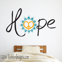 Hope peace love wall decal, flower wall decal, hippie wall decal, bedroom wall decal, bohemian wall decal, boho wall decor, peace wall art