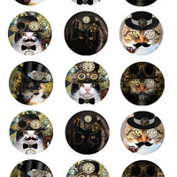 Steam punk collage sheets, steam punk cats images, 30 mm and 1 inch round Images Sheet for Pendants, steam punk collage for bottle caps