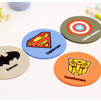 4 pcs/Lot Super hero coaster Silicone cup mat Placemat for table mug cup Zakka Dining accessories Novelty households Cushion Pad