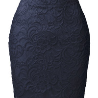 LE3NO Womens High Waisted Floral Lace Scallop Hem Skirt