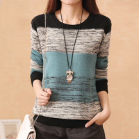 New Fashion Female  Pullovers Knitted Long Sleeve O-neck Winter Autumn Patchwork Sweaters Hot Sale 70057