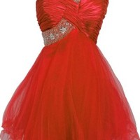 Beaded One-Shoulder Mesh Party Short Prom Homecoming Dress, XS, Red