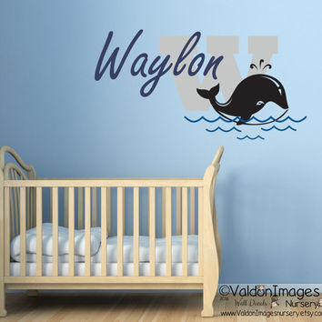 Whale with name nursery wall decal, nursery decor, kids wall decal, personalized, boys room decor, nursery decals, childrens name decal
