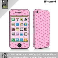iPhone 4 Skin Sticker & Matching Wallpaper - Dogs Pink