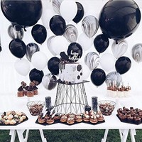 PuTwo Balloons 50 Packs 12 Inch Marble Color Balloons for Wedding Decoration Birthday Party Baby Shower Bachelorette Party - Black/White