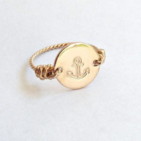 Anchor Ring Bridesmaid Jewelry Nautical Jewelry Nautical wedding Personalized Gift Rope Jewelry Bridesmaid gifts Best friend gift