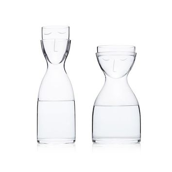 Bedside Silhouette Carafe Set | Fun Drinkware; Unique Housewarming Gifts