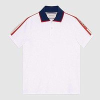 Gucci New Fashion Casual Couple Lapel Top Shirt Tee White