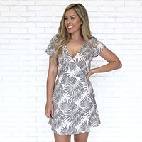 Shadow Palm Wrap Dress in Ivory