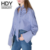 HDY Haoduoyi 2016 Fashion Autumn Women Striped Preppy Style Bow Button Blouses Flare Sleeve Casual Cute Loose Shirts Tops