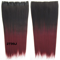 """Dip dye hairpieces New Fashion 24"""" Women Clip in on gradient wig Bath & Beauty Hair Ombre Hair Extensions Two Tone Straight hair Gradient Hair Extension Colorful Hairpieces GS-666 2T99J,1PCS"""