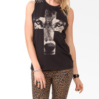 Studded Wolf Graphic Muscle Tee