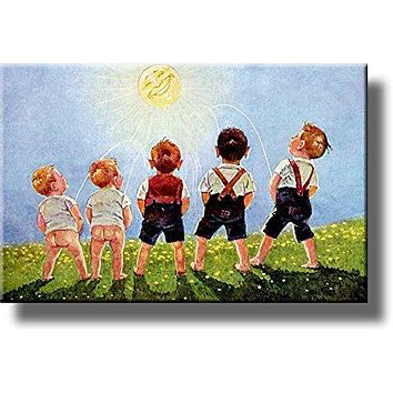 Boys Urinating into the Sun, Toilet Bathroom Picture on Stretched Canvas, Wall Art Décor, Ready to Hang!