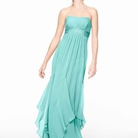 Strapless Crinkle Chiffon Bridesmaid Dress with Godets Style F14865