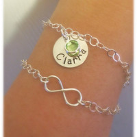 Sterling Silver Hand Stamped Name Disc and Birthstone Charm Bracelet by Tickle Bug Jewelry!  Great gift for adults or kids!