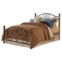Queen Size Black Metal Bed with Wood Post Headboard & Footboard