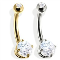 14K Gold (Nickel free) Double Jeweled Belly Ring, CZ