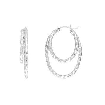 Sterling Silver Rhodium Plated Double Oval Hoop Earrings, Diameter 30mm