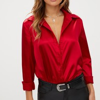 Red Satin Button Front Shirt