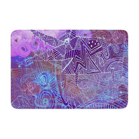 """Marianna Tankelevich """"Abstract With Wolf"""" Purple Illustration Memory Foam Bath Mat"""
