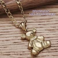 Gold Layered Women Teddy Bear Fancy Necklace, by Folks Jewelry