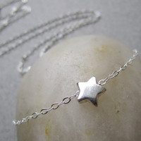 Dainty Necklace, Tiny Sterling Silver star strung on Thin Silver Chain