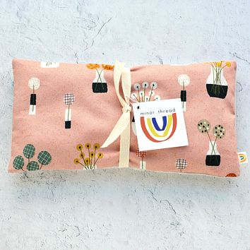 Oversized Eye Pillow in Bouquet in Pink and Linen