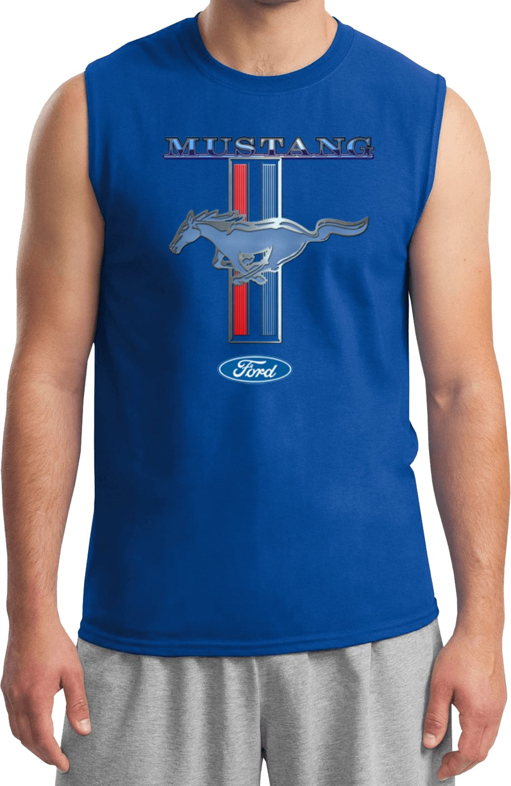Image of Ford Mustang T-shirt Stripe Muscle Tee
