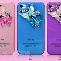 iphone 4 4S case cover -buttertly iphone 5 case - iphone5 case crystal-bling pretty iphone 5 case crystal iphone4 case-  iphone4 case