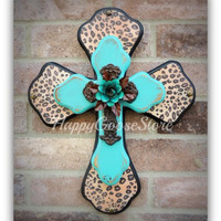 X-Small Wall Cross - Leopard/Cheetah with Antiqued Turquoise, Iron Cross w/ Turquoise Iron Rose