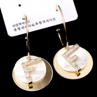 Fendi New fashion letter long earring women Golden