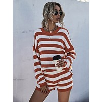 Striped Drop Shoulder Sweater With Knit Short