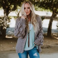 Coziest Ever Chunky Oversized Pom Pom Sleeve Cardigan - Gray