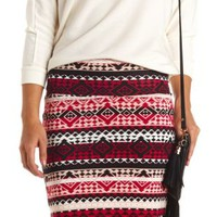 Geo-Tribal Print Bodycon Mini Skirt by Charlotte Russe - Navy Combo