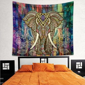 CREYU3C Indian Elephant Mandala Hippie Wall Hanging Tapestry Gypsy Bedspread Throw New Tapestry