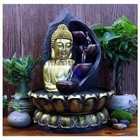 Shiny Desktop Buddha Water Fountain For Decor