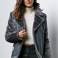 J.O.A. Faux Leather and Faux Fur Moto Jacket at PacSun.com