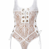 Diva White Lace Bodysuit