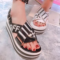 OFF-WHITE 2018 Summer New Thick-soled Casual Cross-toe Sandals F0373-1