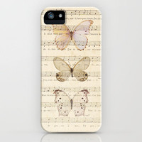 Butterflies on Vintage Music Notes by Adidit iPhone Case by Adidit | Society6