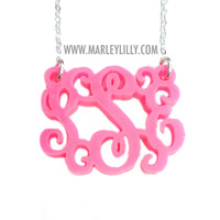 Pink Flamingo Acrylic Monogrammed Necklace